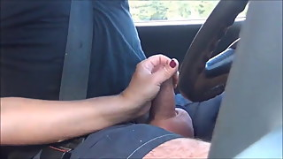 HOT WIFE - handjob while driving