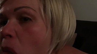 Blonde whore Tina blows pierced cock emotional