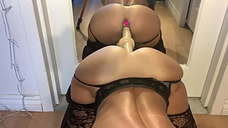 HouseWife fucks her tight ass and uses a mirror to ride a cock
