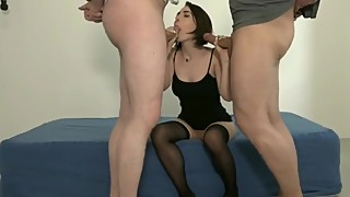 Tiny wife enjoying her first double penetration with husband and neighbor