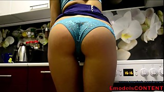 Real housewife mom masturbate on the kitchen in blue see through panties
