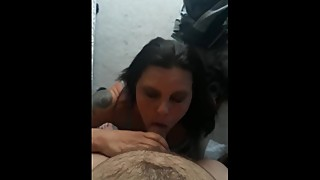 Cum guzzling wife worships my cock