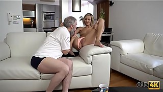 OLD4K. Old daddy fingers wife'_s twat to prepare it for upcoming sex