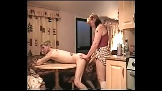 Feminist wife trains hubby to take the strap on