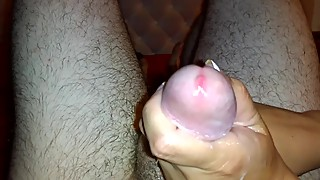 Oily dirty talk cock massage from wife with cum shot