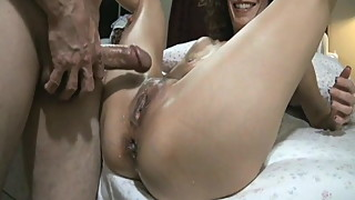 Wife thoroughly fucked up her anal sphincter by big stiffy.