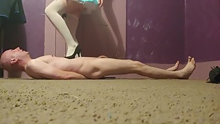 High heel trampling by wife with bondage