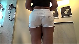 Desi Booty in White Shorts Taking Indian Cock Deep Inside In Bathroom