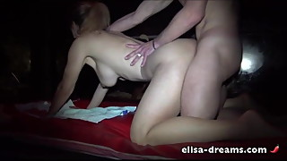 Cheating wife gets fucked by some guys in a club