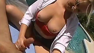Busty blonde wife jerks off my cock by the pool