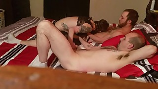 Homemade wife in braided pigtails threesome