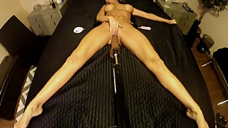 BRUNETTE WIFE FUCKS VIBRATING DILDO ON FUCK MACHINE ~ TOP VIEW