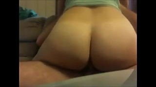 PAWG hotwife riding big cock on couch