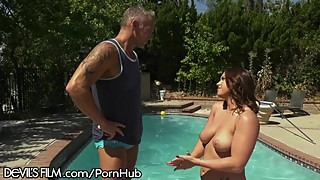 Swinging Housewife Squirts All Over Poolboy's Cock