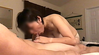Asian Mature Wife Blows & Pumps Dick