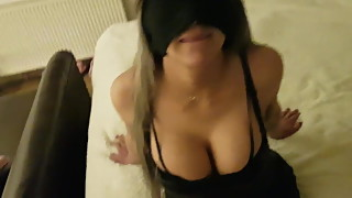 Blindfolded slutwife banged and facialized by her bull
