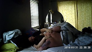 Fingering pawg wife under covers to shaking orgasm real spy cam