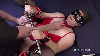 Slut Wife In Spreader Bar Gets Creampie in front of Husband