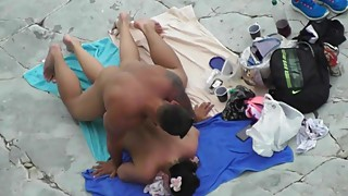 Mature couple passionately Fucks on the beach