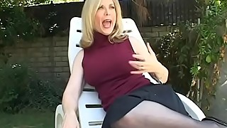 Blonde housewife sits by the pool when dude comes to fuck her