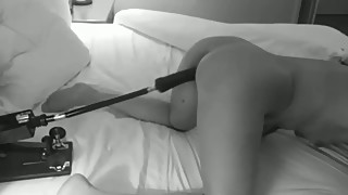 Sexy wife using sex machine