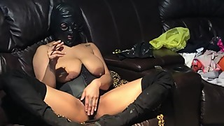 Submissive latex mask house wife slave smoking Fetish waiting to get train