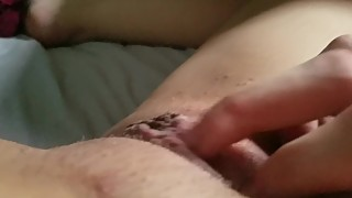 Wife caressing my pretty wet pussy