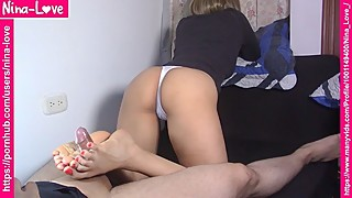 Side view - Wife backwards footjob and cum on feet - Foot fetish - Foot sex