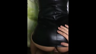 Hot young Wife in latex dress doggy style