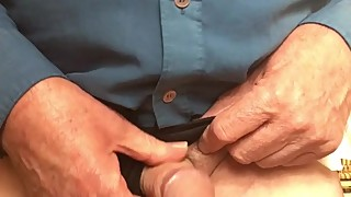 72 year old man wanking and cumming in wife's knickers