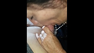 Morning blowjob on vacation in hotel by milf wife as she swallows.