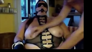 Slut fetish wife bound, blindfolded, smoking with holder, teased and gagged