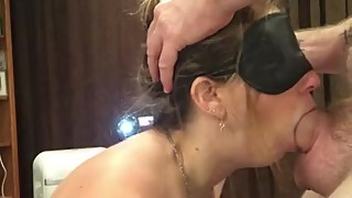 I love gagging on it make me do it again! -blindfolded blowjob by hot wife