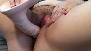 Wife plays with WET PUSSY - HUGE DILDO