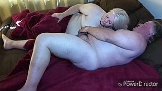 Wife sucks cock and Jack's me off on her tittie