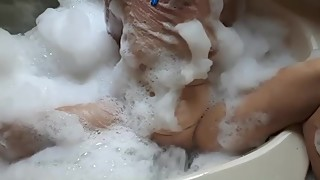 Wife bubble bath,enjoys spa jet