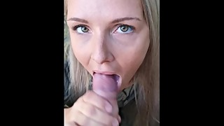 Wife sucking cock in public, CUM IN MOUTH!
