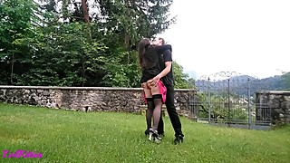 Very horny wife first time in chastity belt (outside, outdoors, nature)