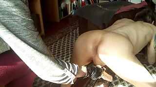 Dildoing husbands ass fast and deep