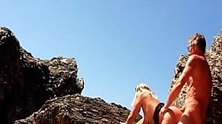 lisa fingered and fucked among the rocks at the beach