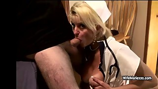 Mature nurse Wife Marie gets her mouth fucked with big dick