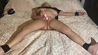 MILF Wife Cums with Pink Vibrator While Legs & Arm are Strapped to Bed (p1)