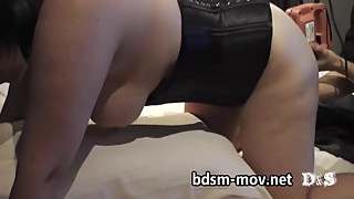 big tits wife and FemDom.harness dildo - fucking machine