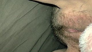 Fingers open up my wife's juicy hairy pussy
