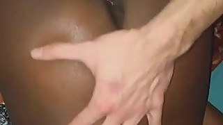 Husband fucks wife's mouth while bull fucks her pussy