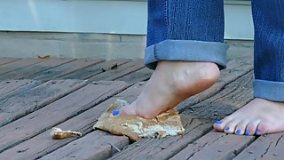 Amateur Housewife Brooke Smashing a loaf of bread Barefoot