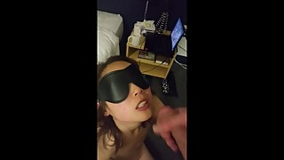 blindfolded asian wife swallows huge load of cum