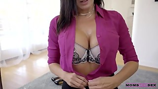 Drunk housewife Reagan Foxx has sex with her shy stepson