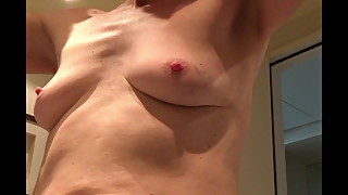 close look at saggy little milf tits