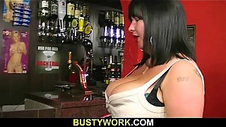 Busty barmaid takes it from behind